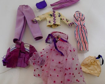 Purple Barbie Clothes Lot 9 pieces swimsuit Dresses Pants Vintage Mod Doll Mattel Accessories