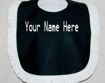 Bib With Ruffle Adult Gag Gift Custom Embroidered Personalize Name Makeup Bachelorette Party Clothing Protector Ready To Ship TODAY AGFT 040