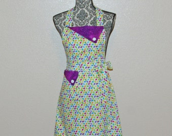 Purple Apron, Chic, Cute, Full, Pretty Ladies Hostess Apron, Custom Gift, Personalized With Name, No Shipping Fee,  Ships TODAY, AGFT 667