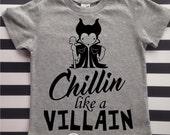 Chillin like a Villain Kids Funny Shirt Villain shirt kids clothes vacation shirt chillin shirt kids hipster shirt