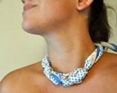 Flower and Polka Dot Vintage Scarf Statement Necklace