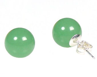8mm Natural 'Green Jade' Aventurine Stud Earrings, Ball Earrings, Round Earrings, Green Gemstone, 14K White Gold Earrings, Gold Jewelry