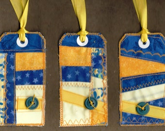 Blue handmade fabric patchwork scrappy crazy quilt gift tag set