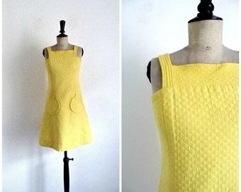 Vintage 60's BUTTERCUP  Mini Dress Yellow Cotton Stung CLAUDE SYLGER Size S