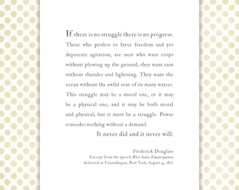 Graduation Gift Print, Frederick Douglass inspirational speech, struggle, progress