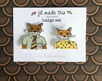 Fantastic Mr Fox brooch set with free postcard print - Wes Anderson inspired