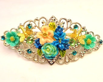 Flower Garden Crystal Barrette, Multi-Color,Vintage Style,Hair Accessories,Bride,Bridesmaid,Silver Tone Filigree Barrette, Teal Crystals