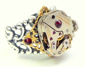 Working Movement, Steampunk Ring, Ruby Jeweled, Adjustable Filigree Band, Antiqued Silver,Vintage Watch,Unisex Steam Punk,Red Crystals, OOAK