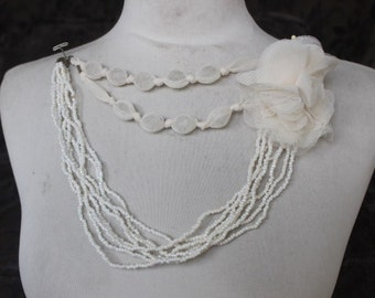 Cute  beaded    applique trim  with chiffon flower ivory color   1   pieces listing