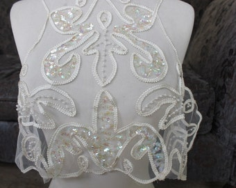 Cute embroidered and   beaded    applique  ivory color   1   pieces listing