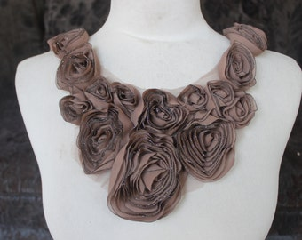 Cute  embroidered  chiffon  flower  applique brown color