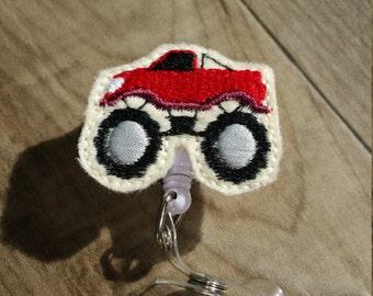 Clearance Red Monster Truck Feltie Badge Holder / ID Holder / Ready To Ship