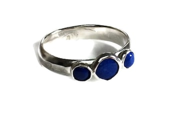 Lapis engagement ring,  Silver Ring,  Engagement Ring, Lapis Wedding Band, Unique engagement ring