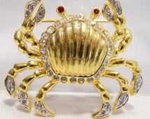 Rhinestone Maryland Blue Crab Pin Gold Tone Crustacean Brooch 616DGZ
