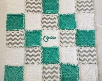 Unisex Rag Blanket Thick Warm White Minky Dot Greenish Blue Minky Dot Soft Patchwork 40X40
