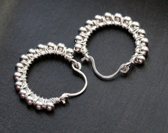 Sterling silver beaded hoops, small, hoop earrings, simple, classic, Mimi Michele Jewelry
