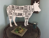 Butcher Print Wood Cut Out Large Cow Kitchen Restaurant Wall Art