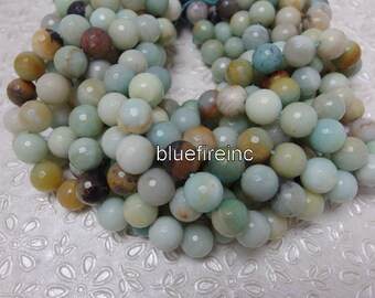 10mm round Faceted Natural Color Amazonite beads in full strand