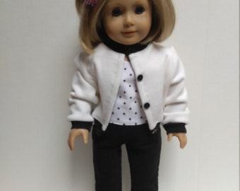 Top,  Black & White Sweater 18 inch doll clothes