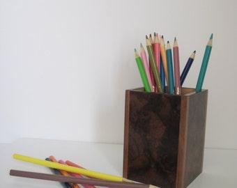 Walnut Burl Veneer Pencil Holder with solid walnut corners, Desk organizer, Office organizer