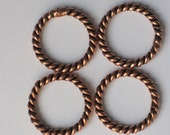 Twisted Copper Jump Ring  20mm Outside Diameter  (Qty 4) 75-3-121