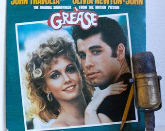 "ON SALE Grease Musical Soundtrack Vinyl Record Album 1960s Retro Theme 1970s Cast John Travolta ""Grease"" (1978 RSO w/""You're The One That I"
