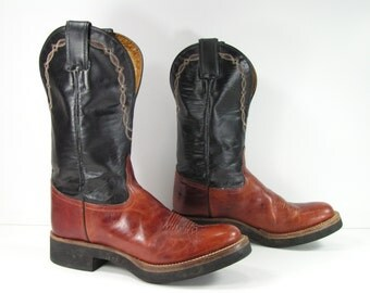 tony lama cowboy boots women's 7 M B brown crepe sole leather cowgirl