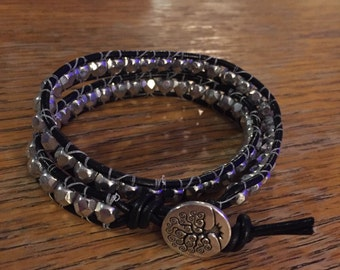 Double Wrap Bracelet in Black Leather