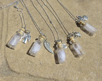 Guardian Angel Feather Necklace, Tiny Glass Bottle Necklace