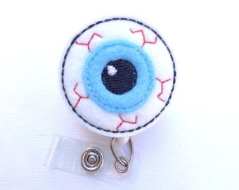 Badge Holder Retractable - Eyeball - white blue felt - optometrist opthalmalogist eye tech badge reel medical staff