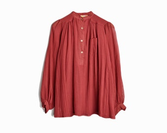 Vintage 70s Gauze Boho Peasant Blouse in Brick Red - women's small