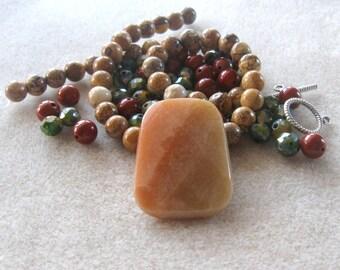 Red Aventurine Pendant, Red Jasper, Glass Beads, Picture Jasper, DIY Jewelry Kit, Craft Supply, Jewelry Making Beads, Necklace Kit