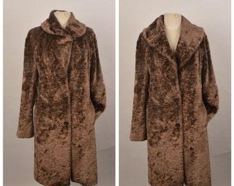 Benetton vintage brown faux fur coat ladies long vegan fur wide collar coat EU 46 Large women