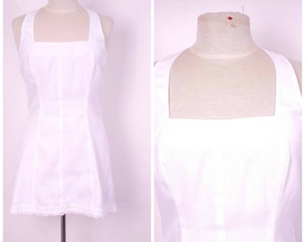 70s 80s white linen look short tennis dress mini halter top dress with lace trim square neckline Fitness Clothing