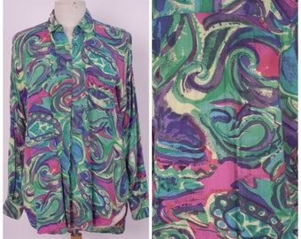 80s 90s psychedelic colorful button up rayon shirt bright abstract long purple green blue pink oversize blouse Anchor Blue unisex medium