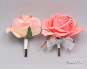 Coral Rose Pin On Corsage and Boutonniere Set. Real Touch Flowers. Caroline Rose Collection