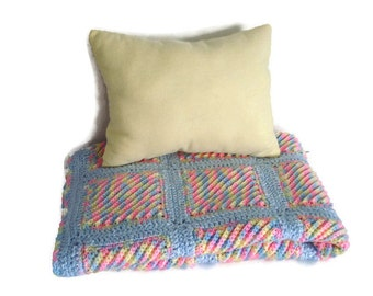 Crocheted Bright Pastel Rainbow Multicolor Baby Infant Blanket Afghan and Soft Pillow Matching Set for Baby Boy or Girl Gender Neutral Gift