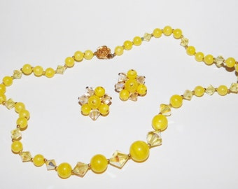 Vintage Yellow Beaded necklace and cluster beaded clip on earring set plastic and aurora Glass