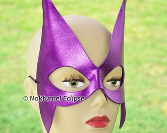 Purple Huntress Leather Mask Superhero Cosplay Villain Batman Catwoman Arrow Geek DC Comics Halloween Costume - Available Any Basic Color