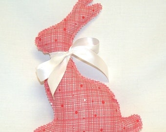 Easter Bunny in Red and White Print