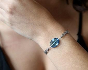 Sky Blue Quartz Chained Bracelet- Gift for Her- Gemstone Bracelet- Blue Bracelet- Blue Jewellery- Chained Jewellery