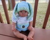 Floppy Ears Bunny Beanie/Diaper Cover Set in Blue with Mint Trim for 0-3 month Baby or Reborn doll
