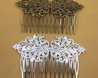 10 Filigree Floral Hair Combs 95x55mm Brass Antique Bronze/ Silver/ Gold/ Rose Gold/ White Gold/ Gun-Metal Plated Hair Comb Wholesale- Z8516