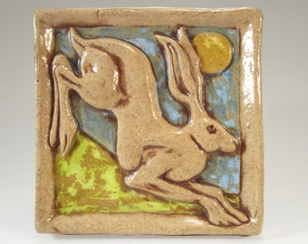 Leaping Hare Ceramic Art Tile - Buff Multi, 4 x 4 Handmade Ceramic Tile, Ceramic Wall Art