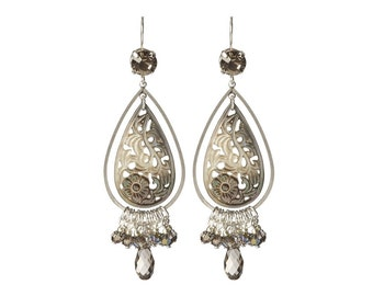 Swarovski crystal earrings with handcarved shell - 925 sterling silver earrings with Swarovski crystal bicone beads & mother of pearl