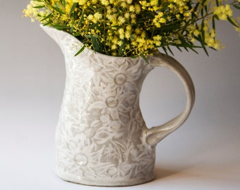 White and buff Pitcher with Australian Flannel Flowers