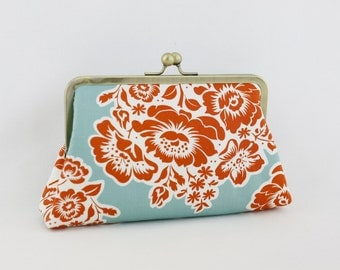 Orange Bouquet Bridesmaid Clutch, Antique Brass Kisslock Frame Purse - the Christine Style Clutch
