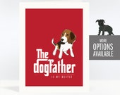 Fathers Day Dog Card from Dog, Gifts for Dog Dad - The Dogfather is My Bestie - Beagle, Chihuahua, Doodle, Yorkie and More - The Godfather
