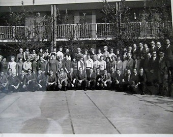 Vintage Work Group Photograph / Mid Century Photo / Black & White Photo / Conference Room Photo