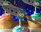 Green Rocket Cupcake Toppers | Outer Space Cupcake Toppers